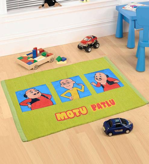 Green Cotton 28 X 20 Inch Motu Patlu Rug by Saral Home