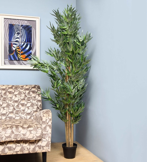Green Fabric Bamboo Tree Artificial Plant by @home