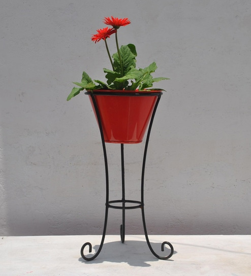 Buy Black Metallic Stand with Red Pot by Green Gardenia Online - Planter Stands - Pots \u0026 Planters - Decor - Pepperfry Product & Buy Black Metallic Stand with Red Pot by Green Gardenia Online ...