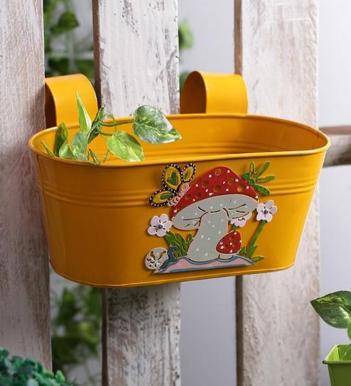 Mushroom Yellow Metal Tub Planter by Green Girgit