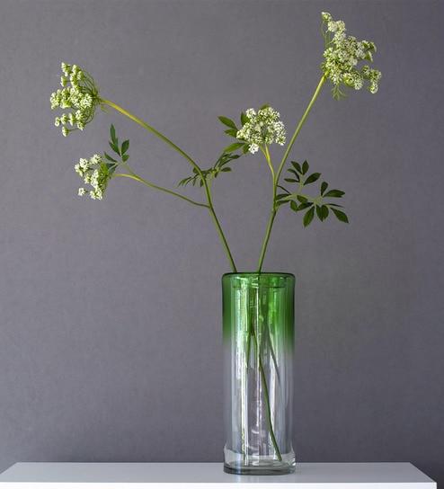 Pepperfry & Green Glass Hand Blown Art Flower Vase By Casamotion