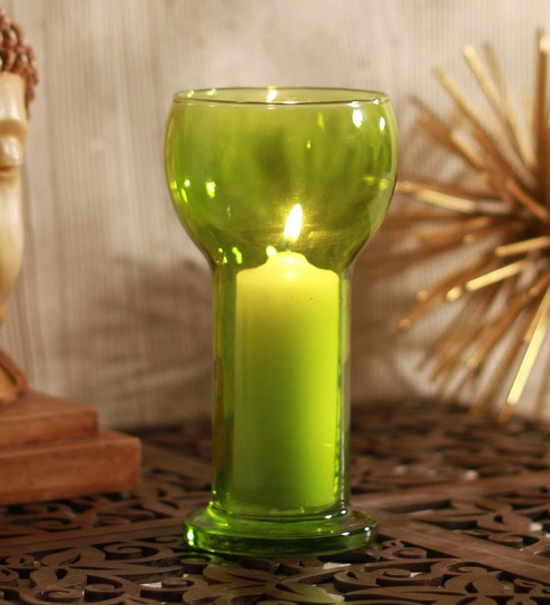 Green Glass Lucilla Candle Holder