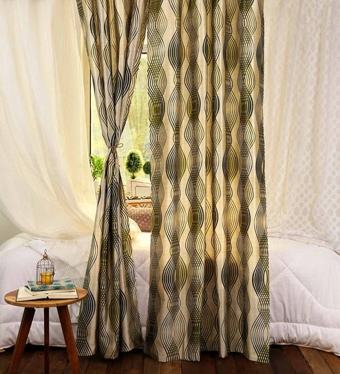 Green Polycotton 48 X 84 Inch Printed Curtains   Set Of 2 By SWHF