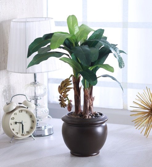 Buy Green Polyester Ceramic Artificial Banana Plant In Vase By