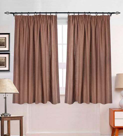 Brown Polyester 5 Feet Gaurika Window Curtain By Deco Window