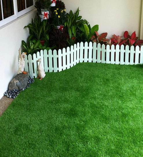 Green Polyster Uv Resistant Artificial Lawn Grass For Balcony, Doormat And  Lawn Use By Fourwalls