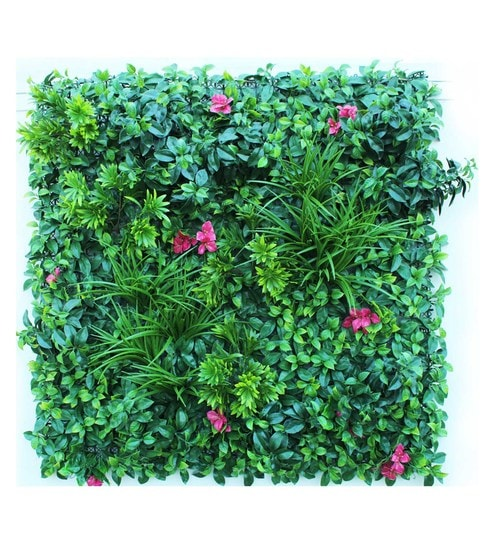 Green Pp Pvc Size Artificial Garden Wall Mat With Mixed Leaves Flowers By