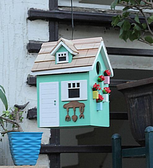 Buy Green Wood Beautiful Decorative Bird House By Tayhaa Online