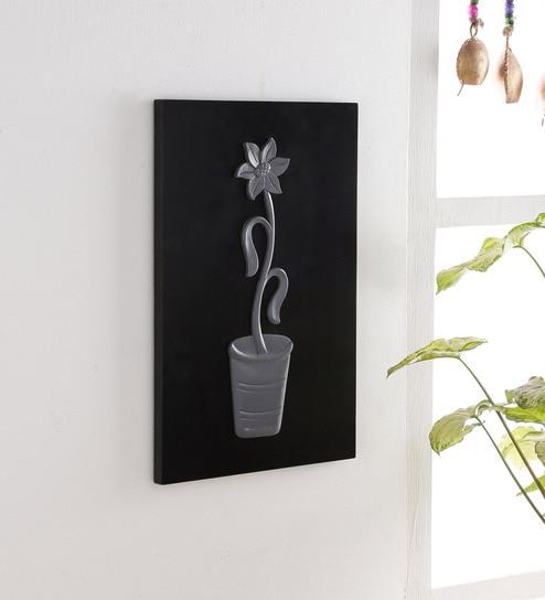 Grey Black Wood Flower Wall Art By Weald Heritage