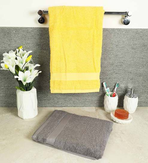 Wondrous Grey And Yellow 100 Cotton Atrium Bath Towels Set Of 2 By Spaces Complete Home Design Collection Barbaintelli Responsecom