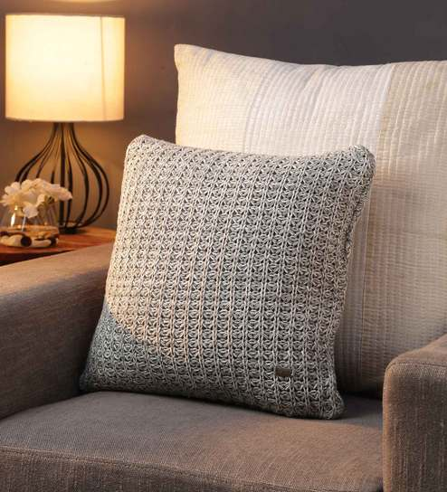 Buy Grey 100 Cotton Round Knit Cushion Cover By Pluchi Online