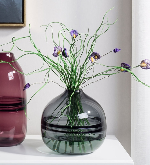 Pepperfry & Grey Glass Hand Blown Art Unique Ripple Design Centerpiece Flower Vase By Casamotion