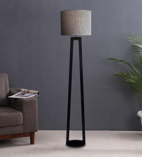 Grey Fabric Shade Floor Lamp With