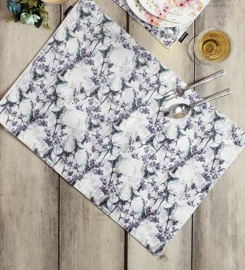 Grey Polycotton Ethnic Placemats Set