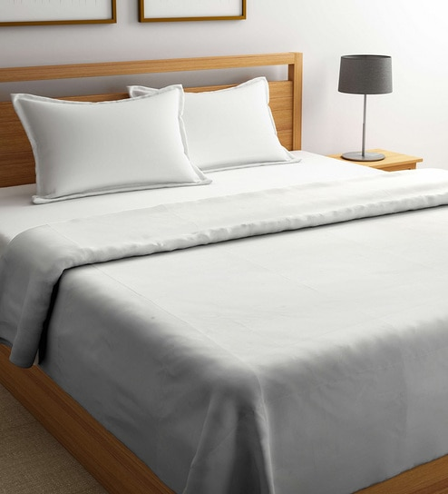 Duvet Covers.Grey Wrinkle Free 100 Cotton 425 Tc Double Duvet Cover By Mark Home