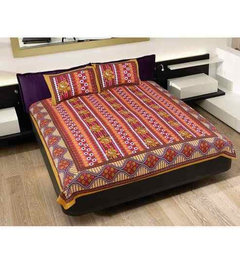 3f311aa4088 GRJ India Rajasthani Multicolour Cotton Double Bed Sheet (with Pillow  Covers) - Set of 3 by GRJ India Online - Indian Ethnic - Furnishings -  Pepperfry ...