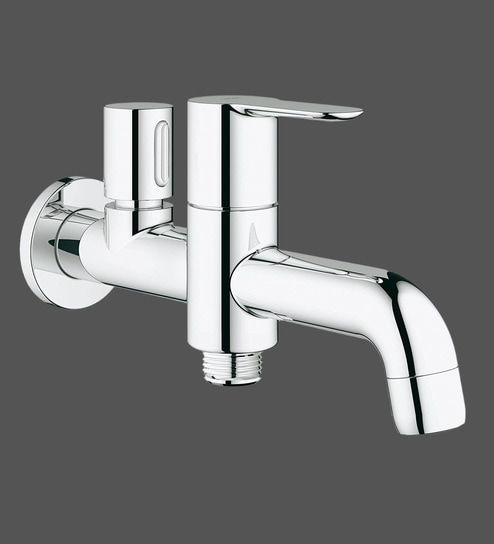 Buy Grohe Bauedge Chrome Brass Wall Basin Tap (Model: 20284000 ...