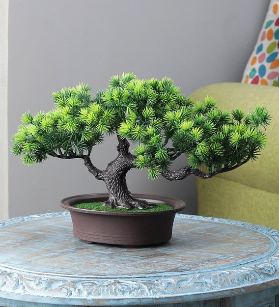 Buy Green Pine Leaves Plastic Polyester Artificial 4 Head Bonsai Tree With Pot By Foliyaj Online Artificial Plants Artificial Plants Home Decor Pepperfry Product