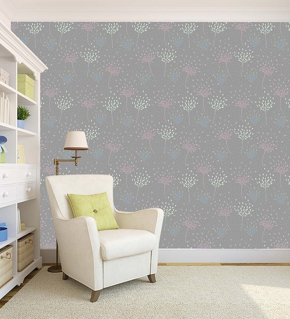 Buy Grey Flowers Pattern Peel And Stick Self Adhesive Waterproof Hd Wallpaper By 100yellow Online Natural Floral Wallpapers Furnishings Home Decor Pepperfry Product