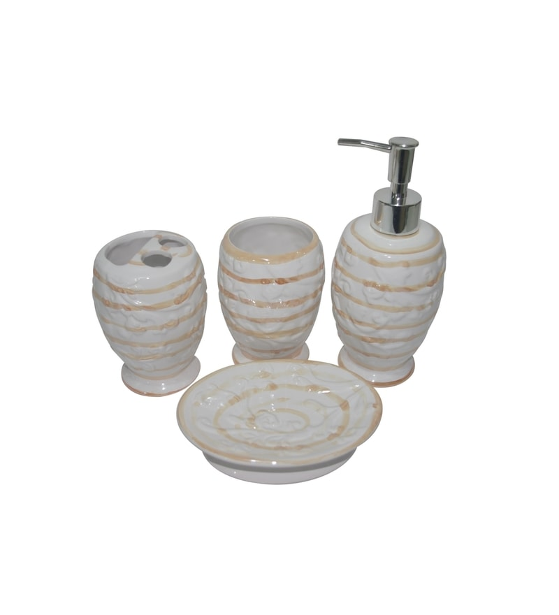 Buy gran white and brown ceramic bath accessories set of for Brown and white bathroom accessories