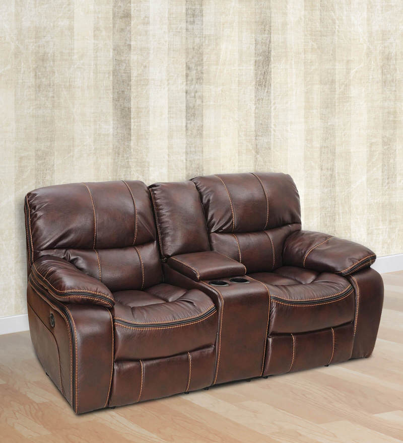 Grand Two Seater Manual Recliner in Maroon Colour by Royal Oak