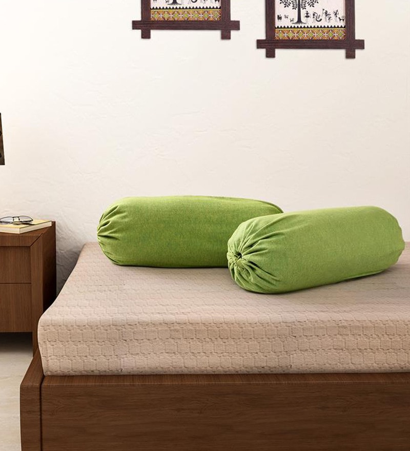 Green 100% Cotton 15 x 30 Inch Bolster Cover - Set of 2 by Soumya