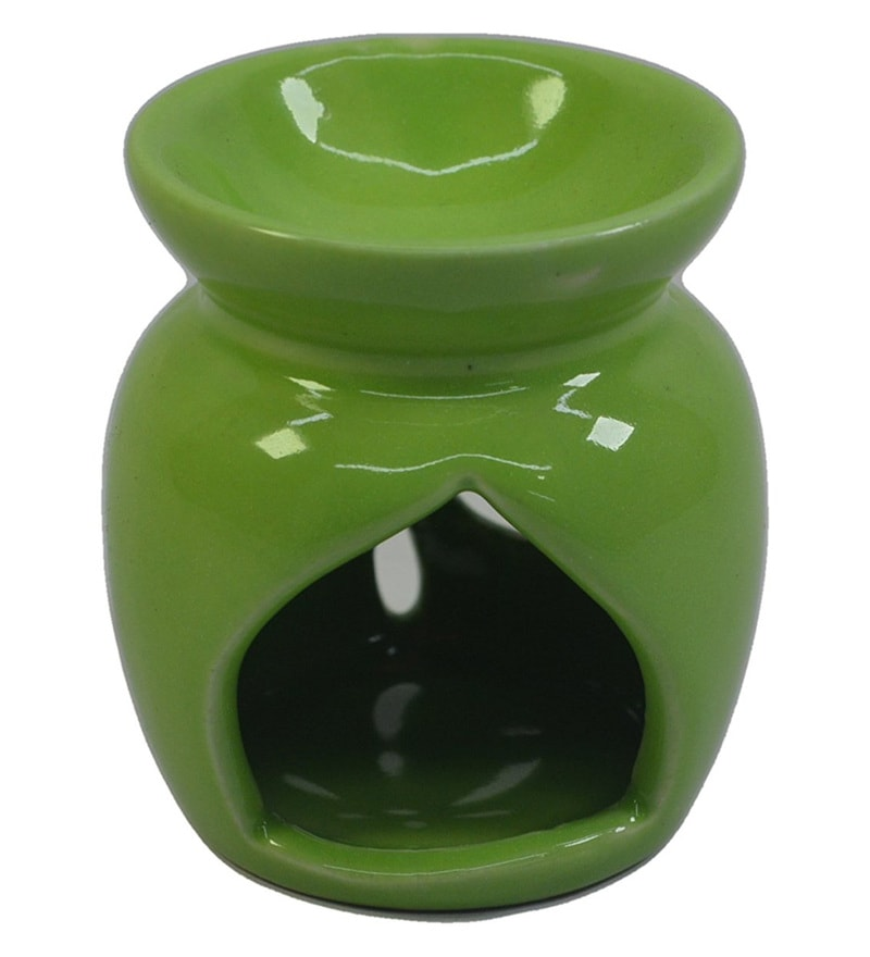 Green Ceramic & Wax Aroma Candle Diffuser Oil by Riflection