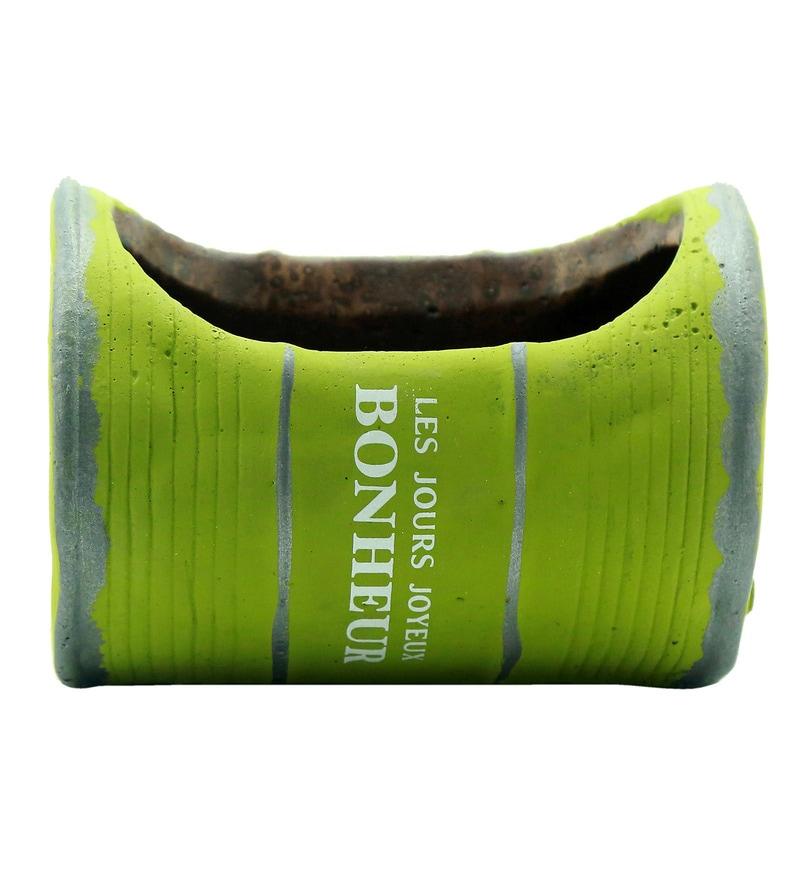 Green Ceramic Oval Shape Vintage French Barrel Planter by Importwala