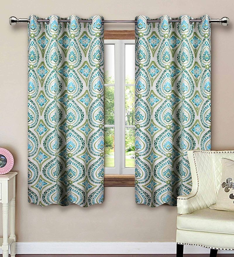 Green Cotton 62 x 53 Inch Floral Printed Window Curtain - Set of 2 by Vista Home Fashion