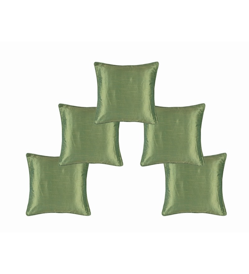 Green Dupion Silk 16 x 16 Inch Cushion Covers - Set of 5 by Soumya