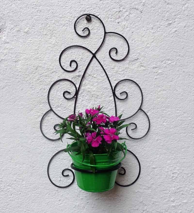 Wrought Iron Wall Bracket With Green Colormetal Bucket by Green Gardenia