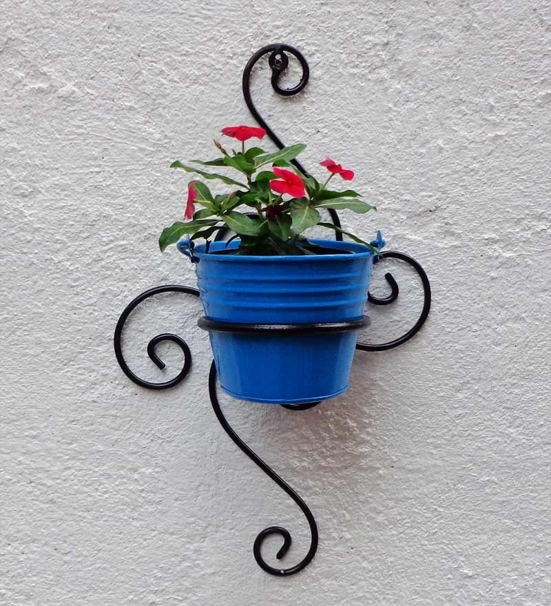 Wrought Iron Wall Bracket With Light Blue Color Metal Bucket by Green Gardenia