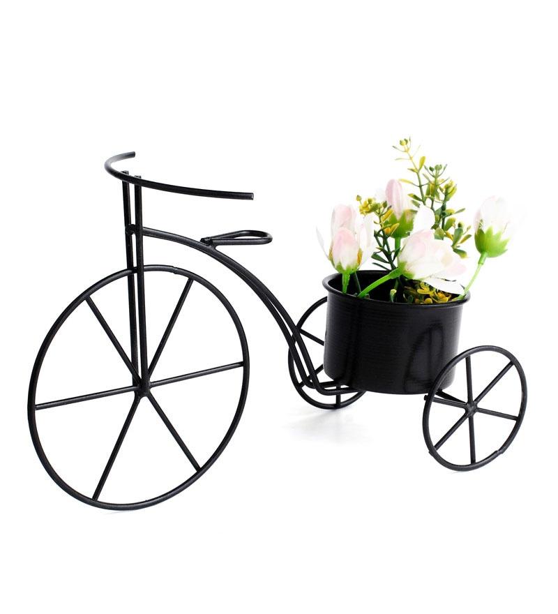 Black Metal Cycle Planter by Green Girgit