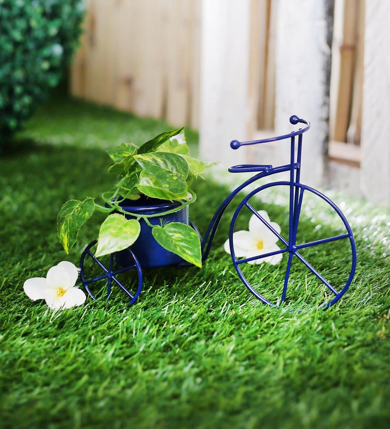 Blue Metal Cycle Planter by Green Girgit