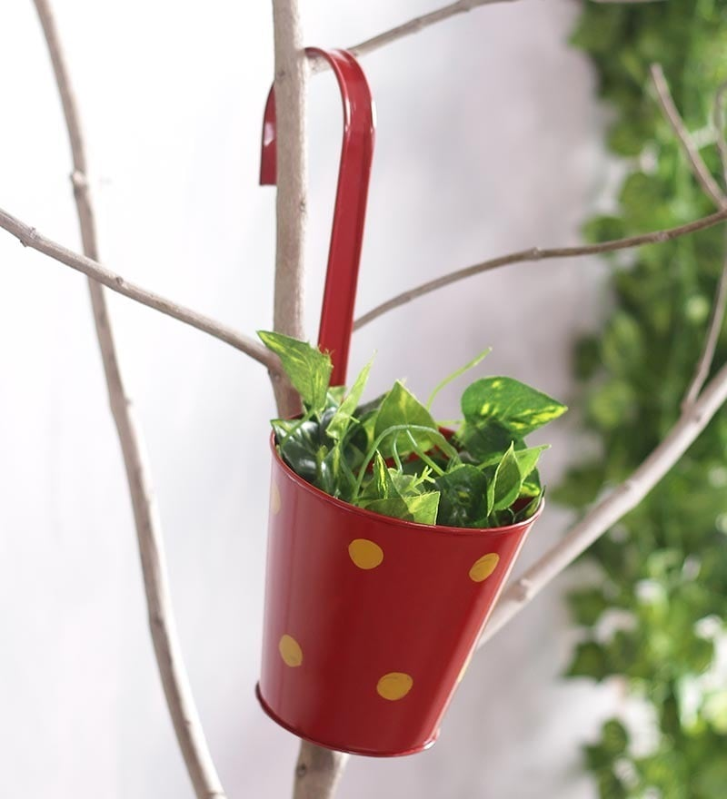 Red Polka Dots Railing Planter Pot by Green Girgit