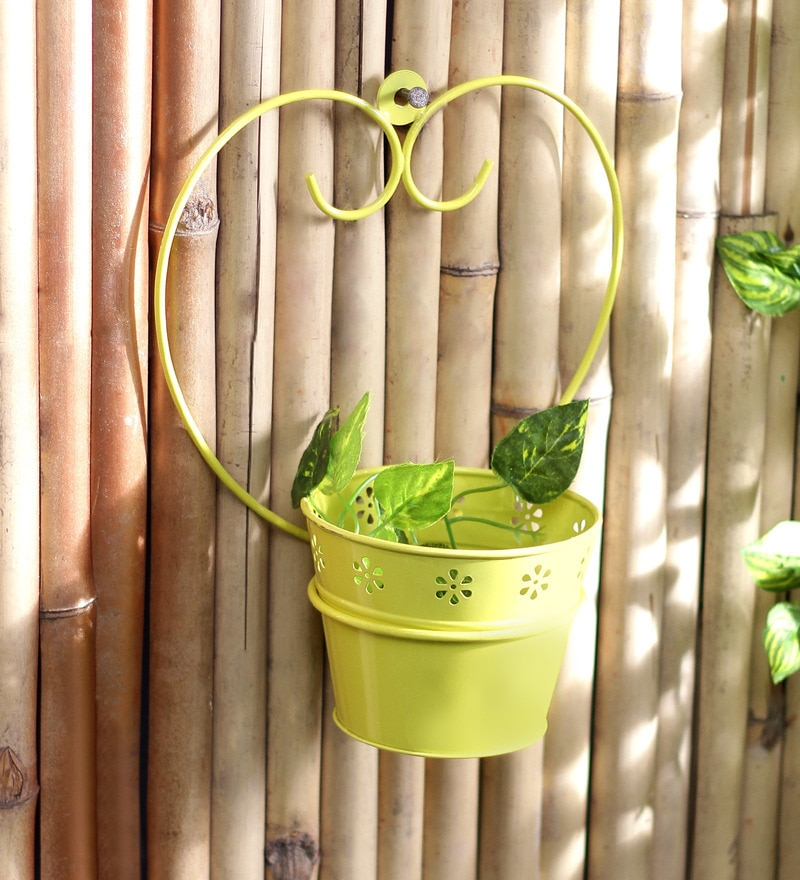 Yellow Metal Single Wall Mounted Planter by Green Girgit