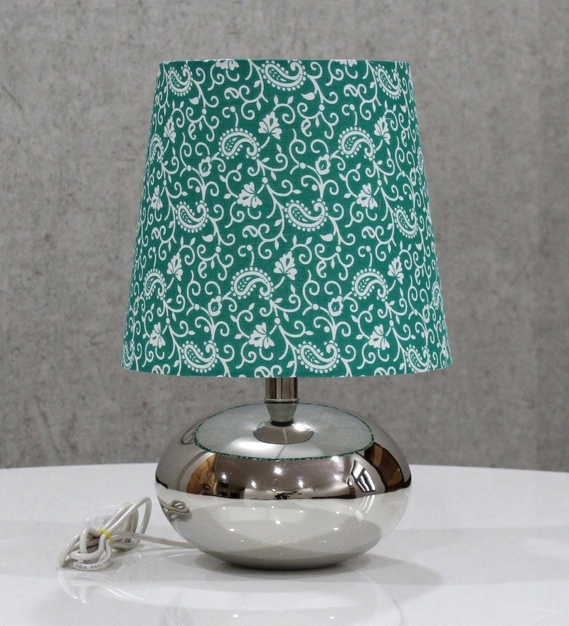 Green Handloom Fabric with Acrylic Sheet Table Lamp by Craftter