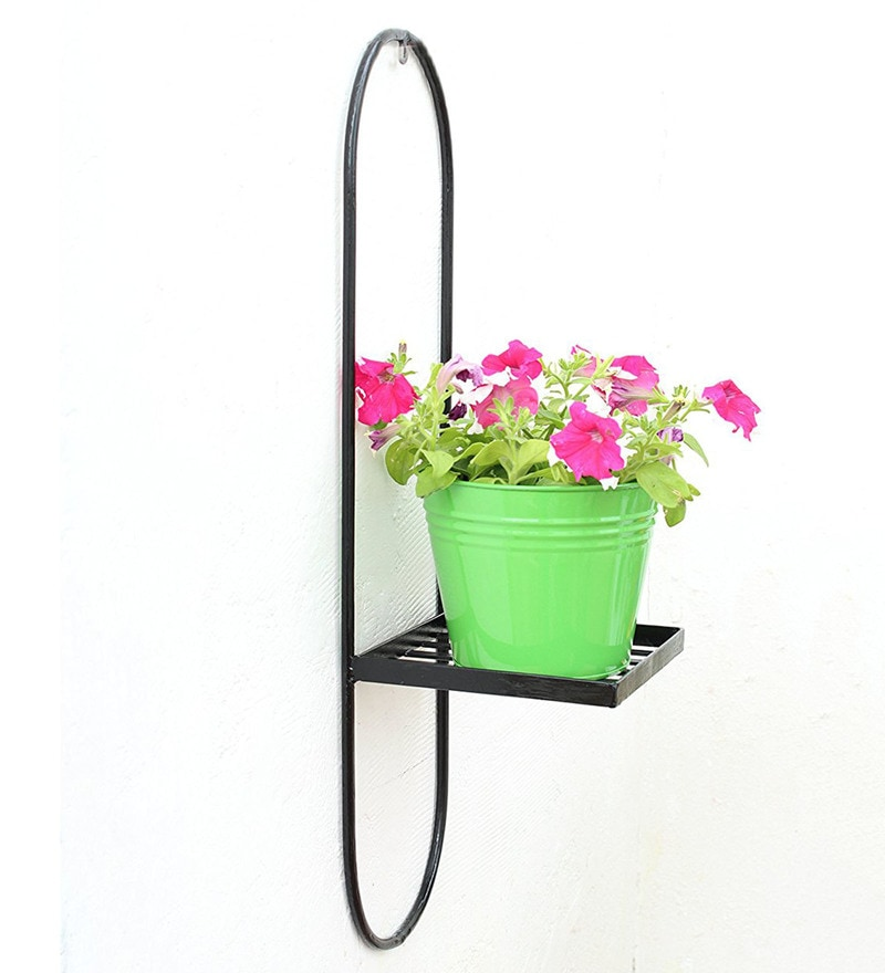 Green Iron Wall Pot Stand with Planter by Green Gardenia