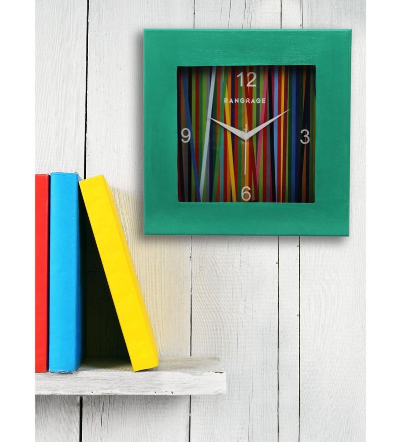 Green MDF 12 x 12 Inch Rainbow Square Wall Clock by Rang Rage