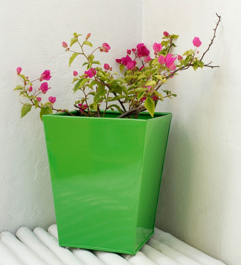 Green Metal Medium Slab Planter by Green Gardenia