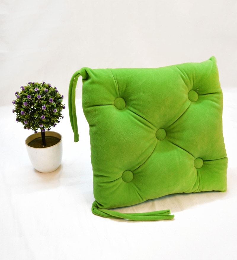 Green Microfiber and Velvet 16 x 16 Inch Chair Pad by StyBuzz