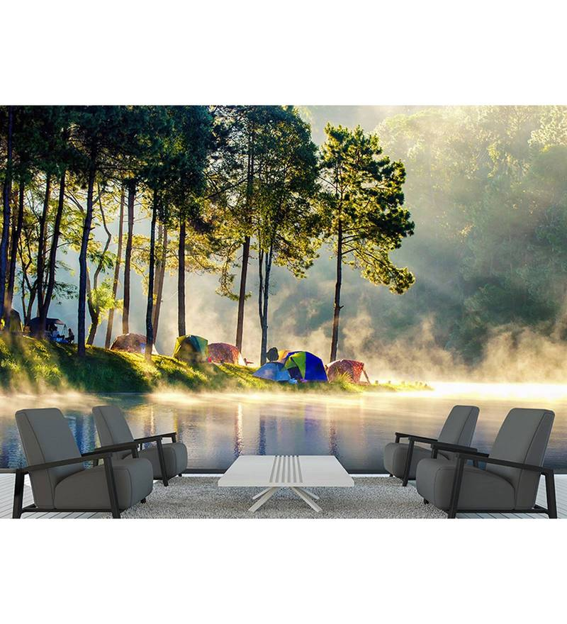 Green Non Woven Paper Camping by The Lake Wallpaper by Wallskin