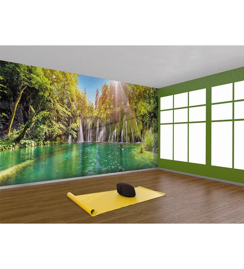 Green Non Woven Paper The Forest Pond  Wallpaper by Wallskin