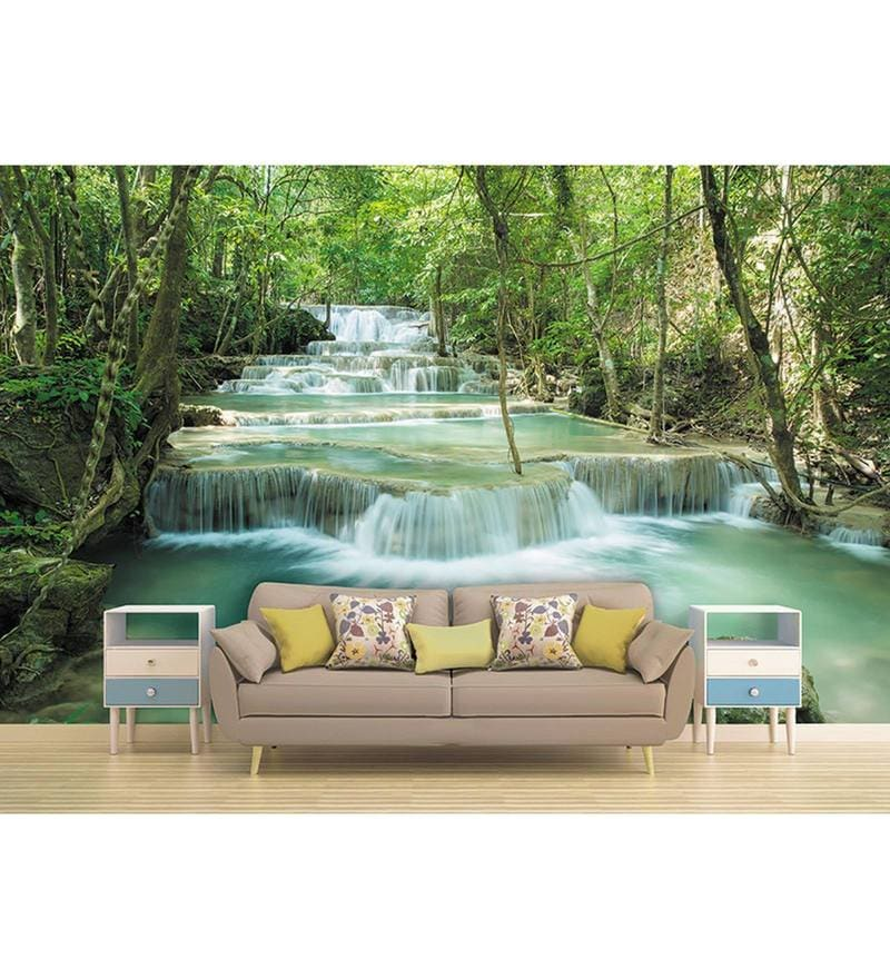 Green Non Woven Paper The River Stream  Wallpaper by Wallskin