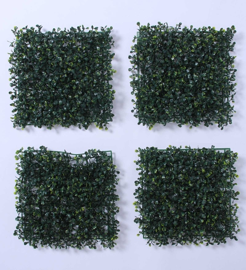 Green Plastic Decorative Square Artificial Eucalyptus Boxwood Mat by Fourwalls - Set of 4