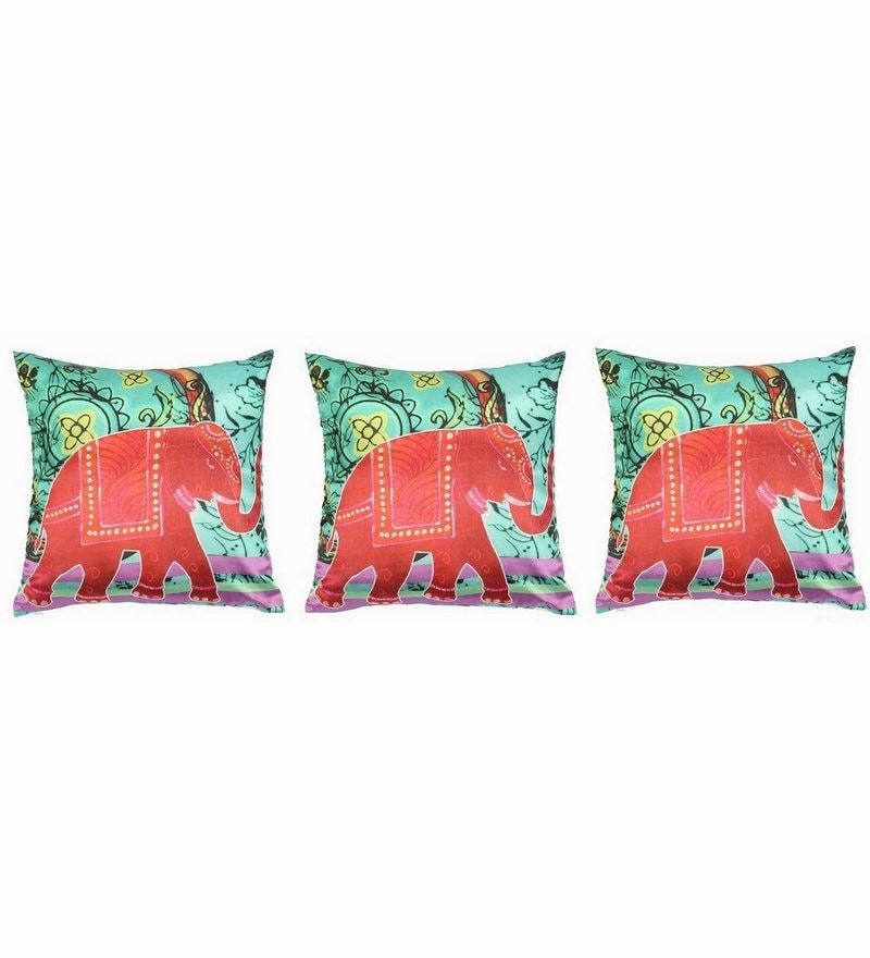 Green Polyester 16x16 Inch Cushion Covers - Set of 3 by Dreamscape