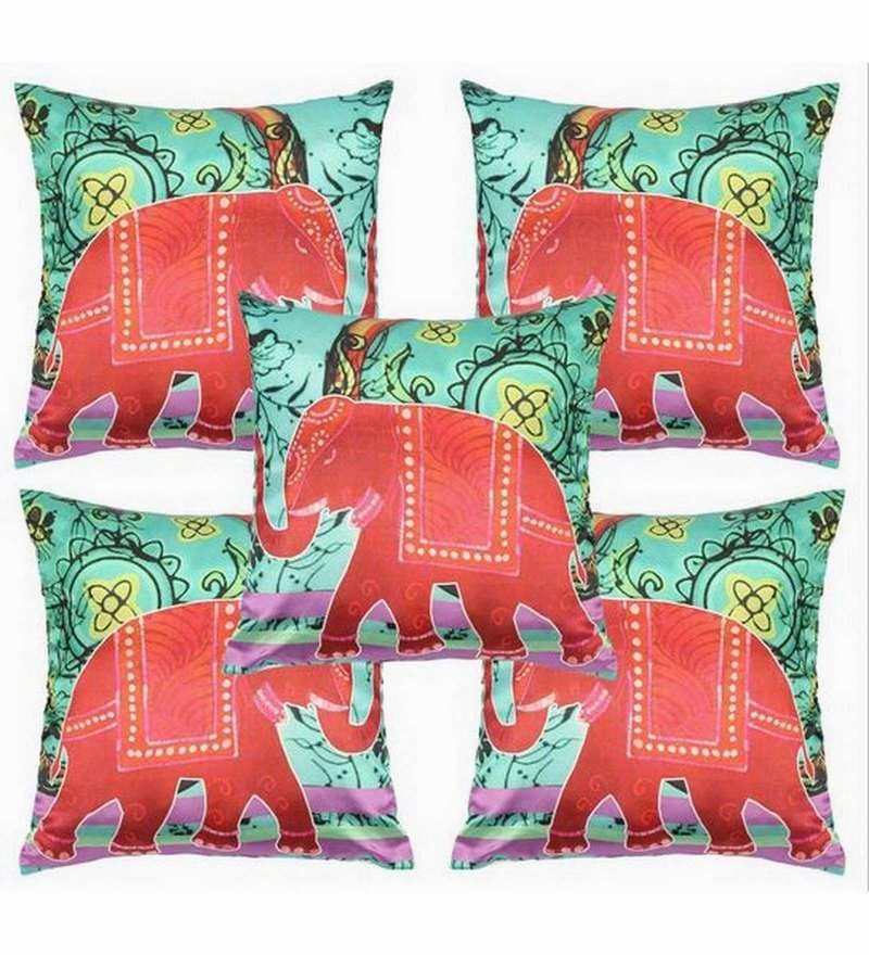Green Polyester 16x16 Inch Cushion Covers - Set of 5 by Dreamscape