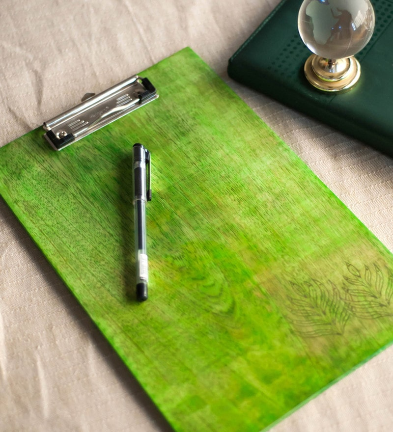 Green Steam Beech Wood Dafti With Inlay Work Stationary by ExclusiveLane