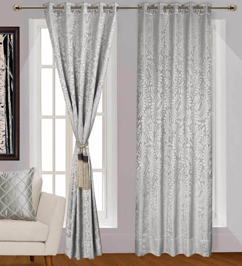 Grey Colour Eyelet Polyester 5 Feet Window Curtain By Urban Hues
