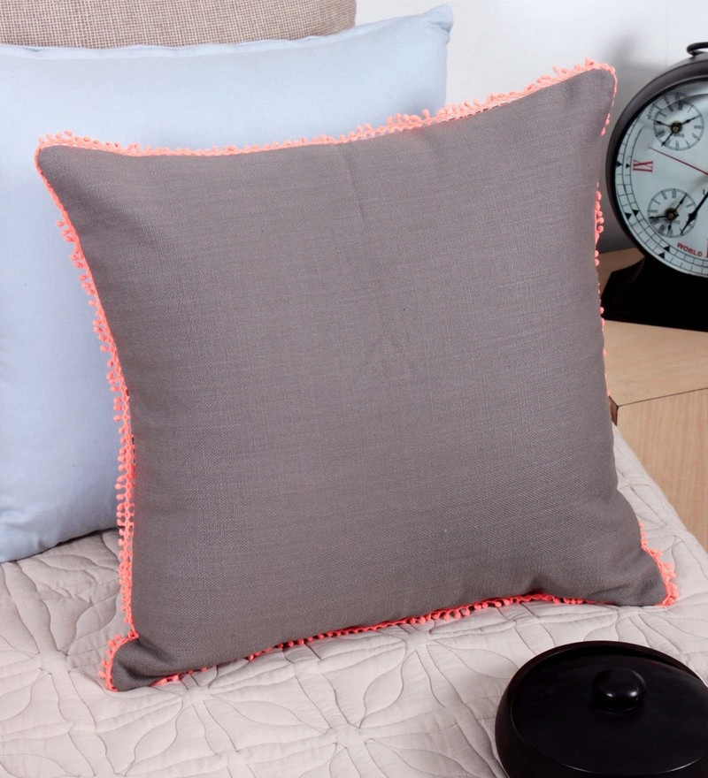 Grey Cotton 16 x 16 Inch Cushion Cover by Vista Home Fashion